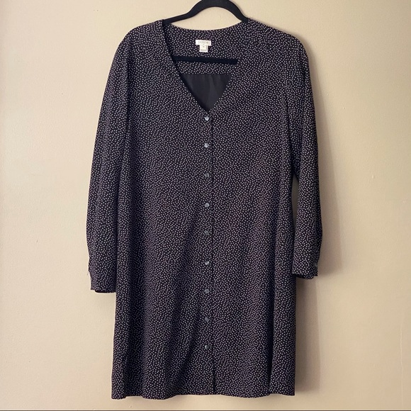 J. Crew black long-sleeve polka dot dress